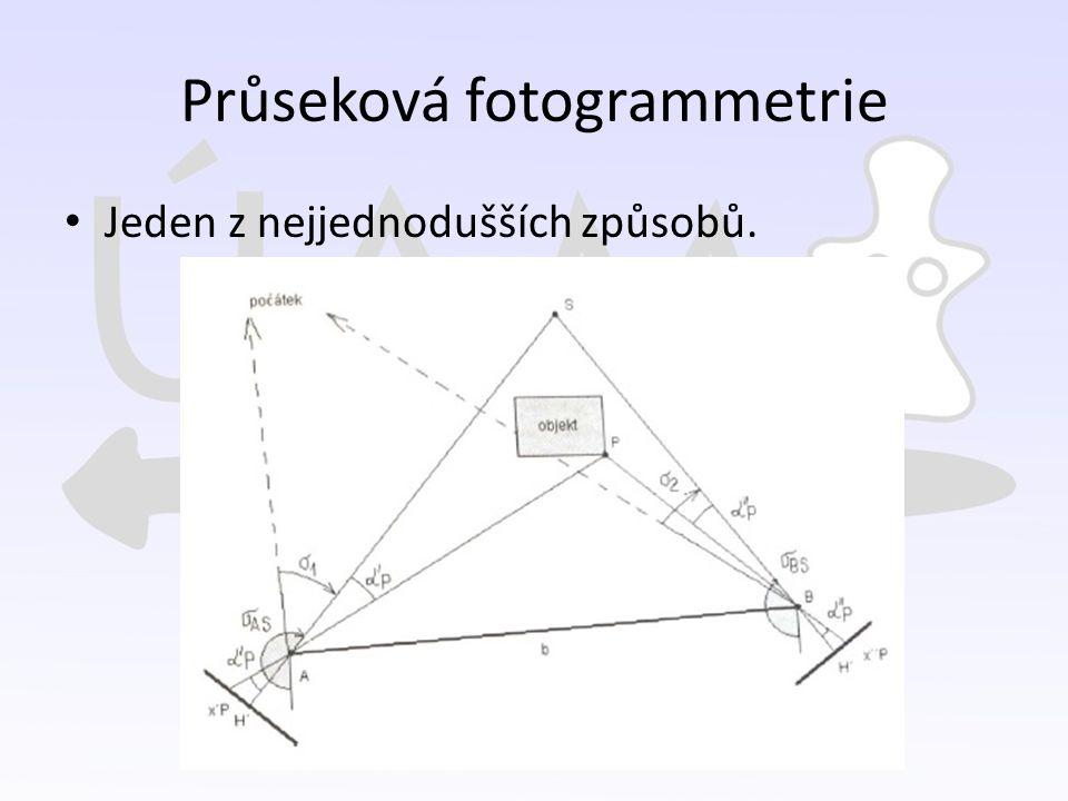Průseková fotogrammetrie Jeden z nejjednodušších způsobů.