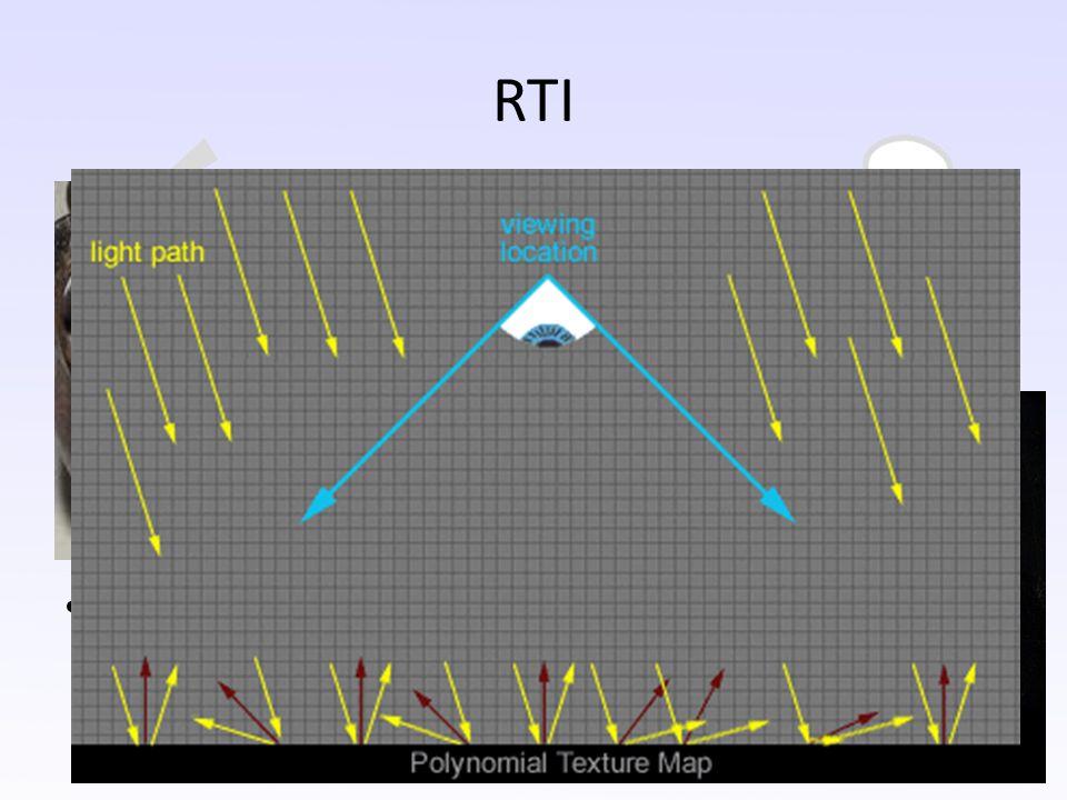 RTI (Reflection transformation imaging) Podobný princip jak PTM, ale pozice světel nejsou fixní, mohou být nastaveny dle požadavků. Směr zdroje světla