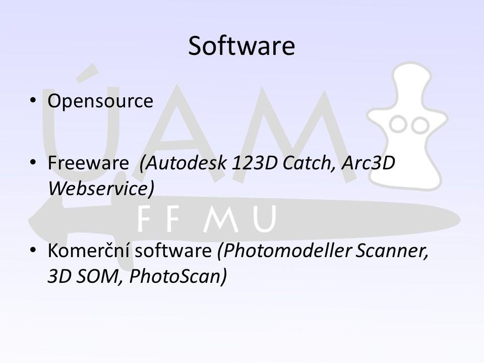 Software Opensource Freeware (Autodesk 123D Catch, Arc3D Webservice) Komerční software (Photomodeller Scanner, 3D SOM, PhotoScan)
