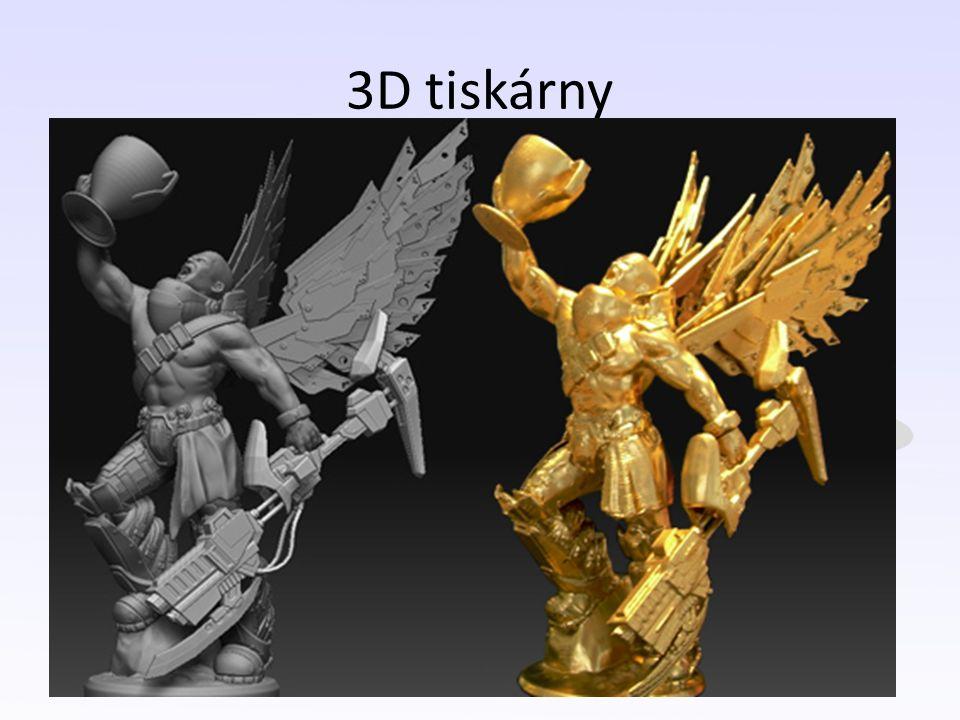 3D tiskárny Vychází ze strojírenského a inženýrského prostředí = 100% přesnost a věrnost předloze Různé druhy (rapid prototyping, stereolithography, CNC, 3D printing atd.) Možnost využití různých materiálů (polymery, pryskyřice, prášek).
