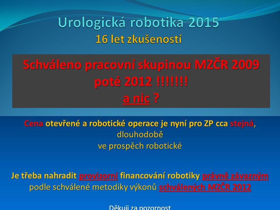 Schváleno pracovní skupinou MZČR 2009 poté 2012 !!!!!!.