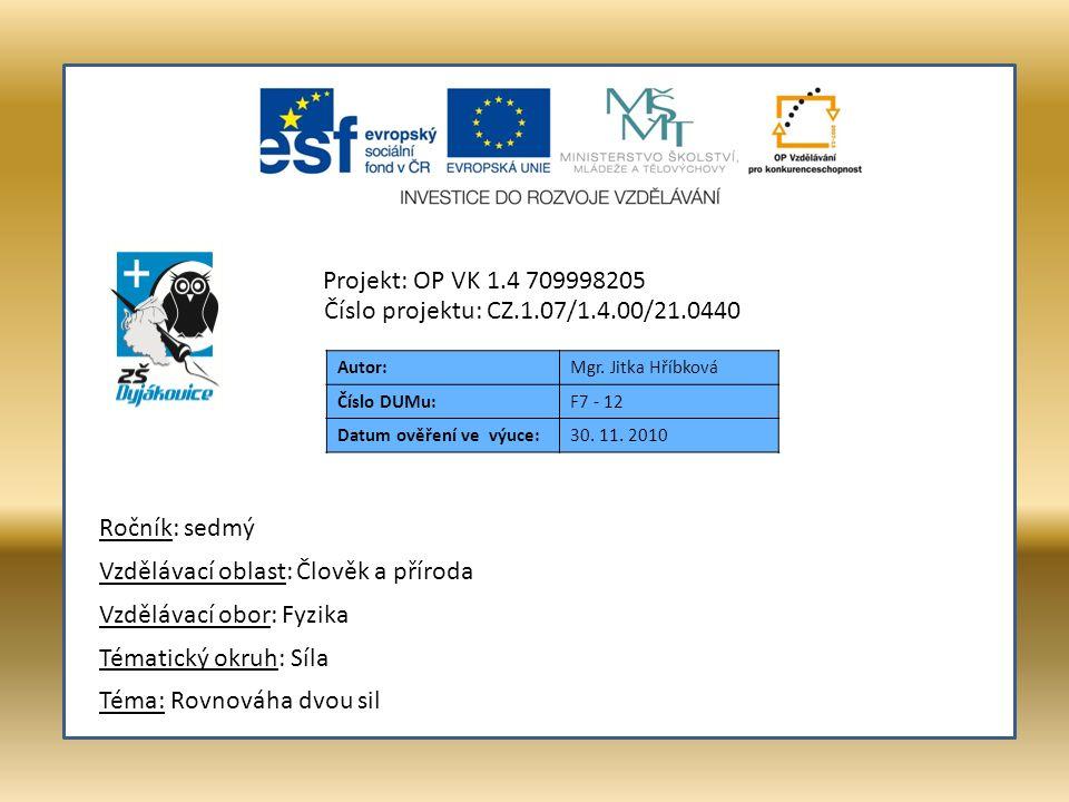 Autor:Mgr. Jitka Hříbková Číslo DUMu:F7 - 12 Datum ověření ve výuce:30.