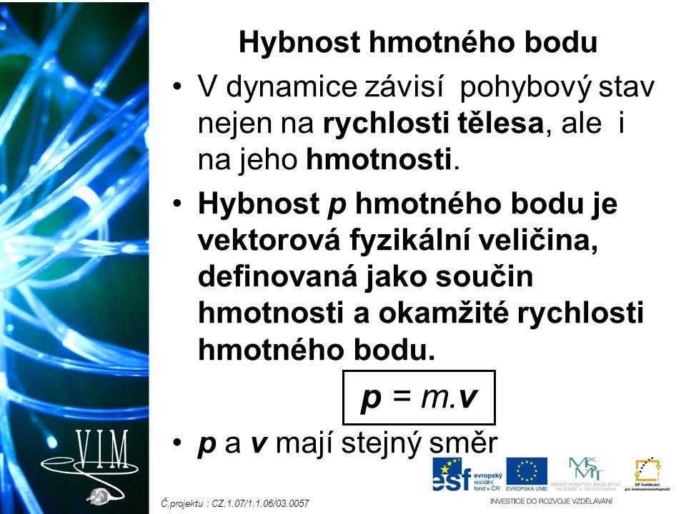 Č.projektu : CZ.1.07/1.1.06/03.0057 Hybnost hmotného bodu V dynamice závisí pohybový stav nejen na rychlosti tělesa, ale i na jeho hmotnosti.
