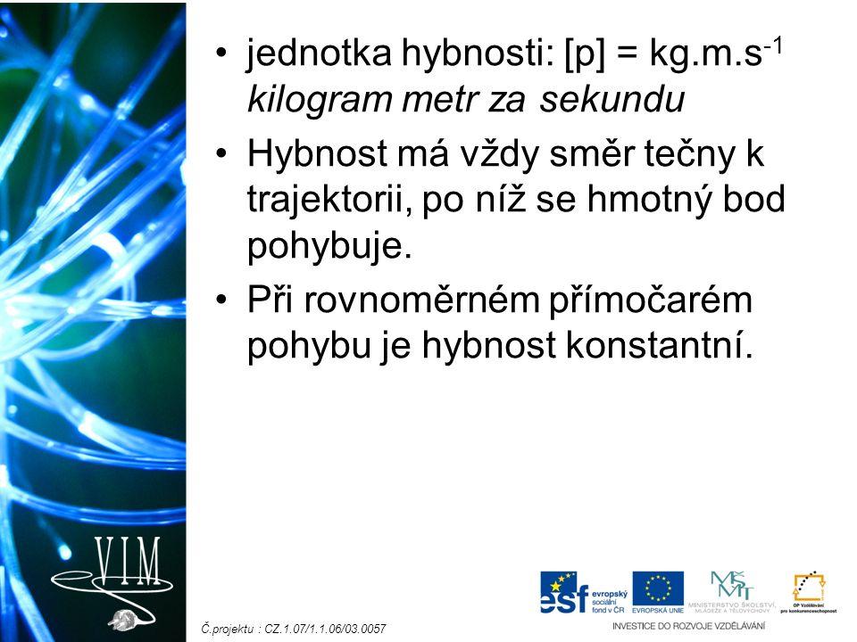 Č.projektu : CZ.1.07/1.1.06/03.0057 jednotka hybnosti: [p] = kg.m.s -1 kilogram metr za sekundu Hybnost má vždy směr tečny k trajektorii, po níž se hmotný bod pohybuje.