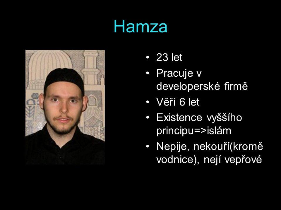 Hamza 23 let Pracuje v developerské firmě Věří 6 let Existence vyššího principu=>islám Nepije, nekouří(kromě vodnice), nejí vepřové