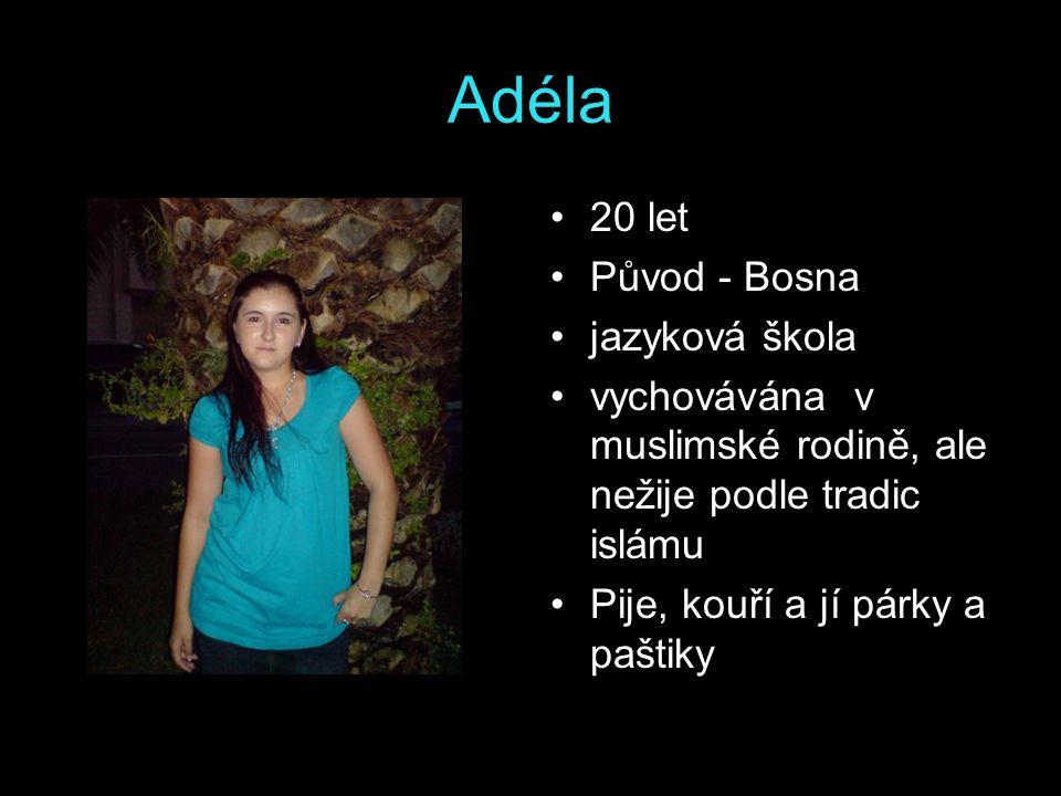 Srdan 21 let původ - Bosna vychováván v rodině, kde matka je křesťanka a otec muslim(zůstal v Bosně) nepovažuje se za muslima pije a jí všechny druhy masa