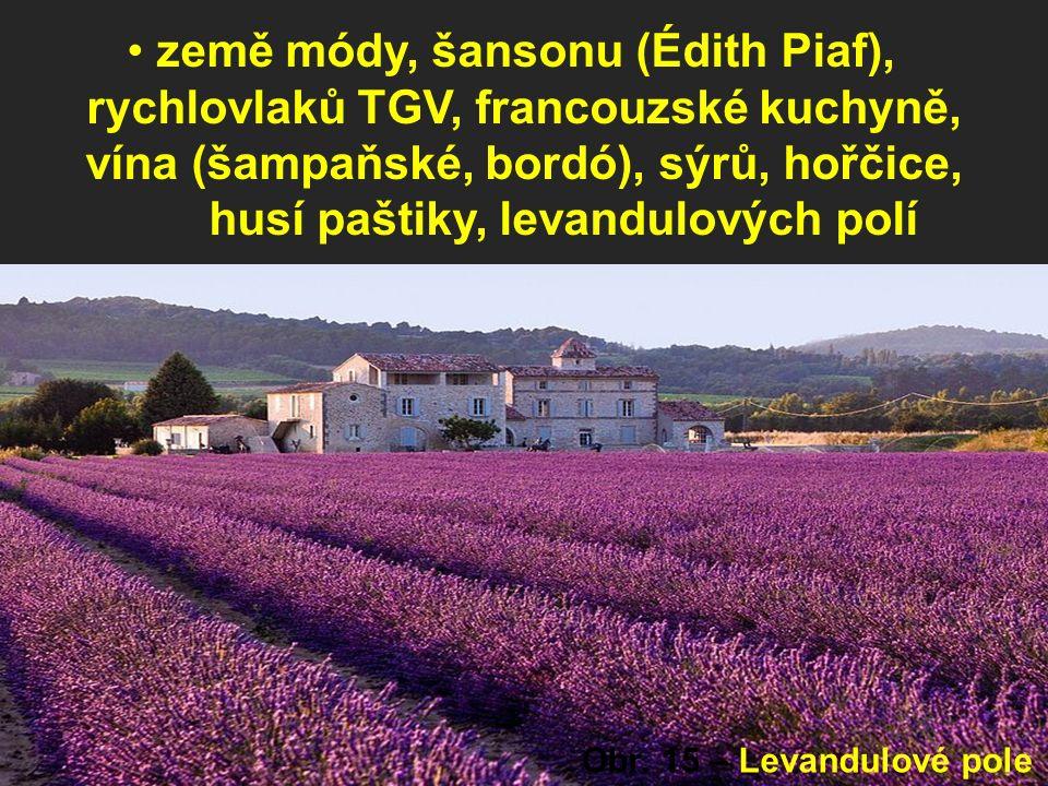 země módy, šansonu (Édith Piaf), rychlovlaků TGV, francouzské kuchyně, vína (šampaňské, bordó), sýrů, hořčice, husí paštiky, levandulových polí Obr.