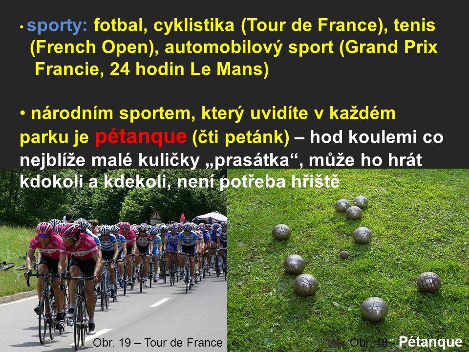 """sporty: fotbal, cyklistika (Tour de France), tenis (French Open), automobilový sport (Grand Prix Francie, 24 hodin Le Mans) národním sportem, který uvidíte v každém parku je pétanque (čti petánk) – hod koulemi co nejblíže malé kuličky """"prasátka , může ho hrát kdokoli a kdekoli, není potřeba hřiště Obr."""