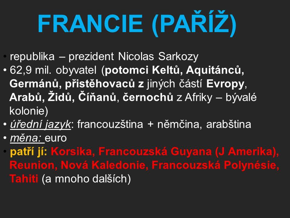 republika – prezident Nicolas Sarkozy 62,9 mil. obyvatel (potomci Keltů, Aquitánců, Germánů, přistěhovaců z jiných částí Evropy, Arabů, Židů, Číňanů,