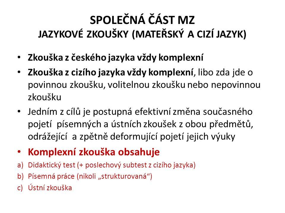 SPOLEČNÁ ČÁST MZ JAZYKOVÉ ZKOUŠKY (MATEŘSKÝ A CIZÍ JAZYK) Zkouška z českého jazyka vždy komplexní Zkouška z cizího jazyka vždy komplexní, libo zda jde