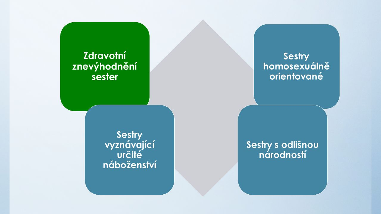 Zdravotní znevýhodnění sester Sestry homosexuálně orientované Sestry vyznávající určité náboženství Sestry s odlišnou národností