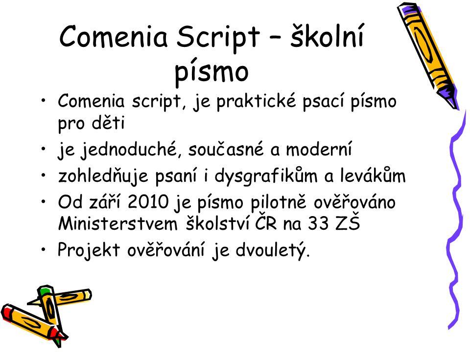 Comenia Script – školní písmo Comenia script, je praktické psací písmo pro děti je jednoduché, současné a moderní zohledňuje psaní i dysgrafikům a lev