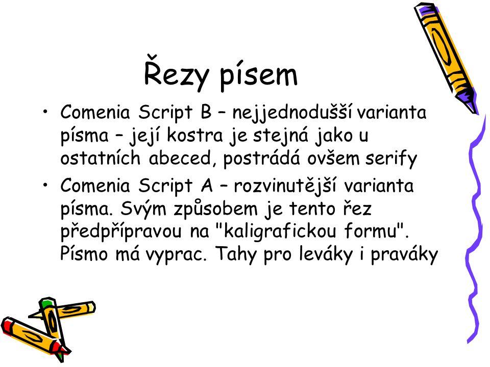 Řezy písem Comenia Script B – nejjednodušší varianta písma – její kostra je stejná jako u ostatních abeced, postrádá ovšem serify Comenia Script A – rozvinutější varianta písma.