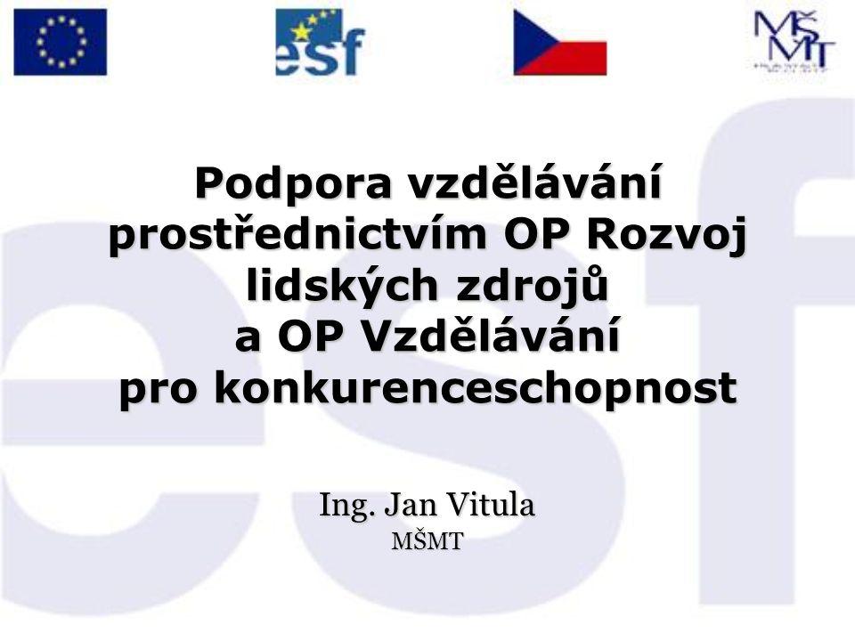 Podpora vzdělávání prostřednictvím OP Rozvoj lidských zdrojů a OP Vzdělávání pro konkurenceschopnost Ing. Jan Vitula MŠMT