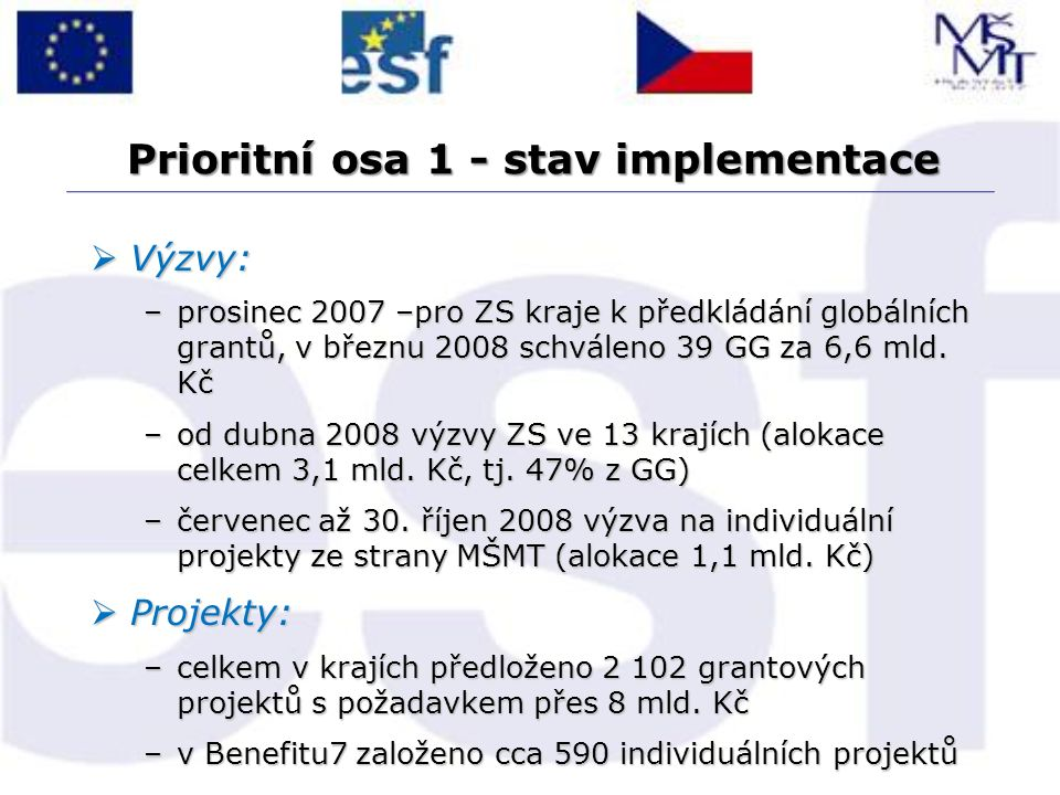 Prioritní osa 1 - stav implementace  Výzvy: –prosinec 2007 –pro ZS kraje k předkládání globálních grantů, v březnu 2008 schváleno 39 GG za 6,6 mld. K