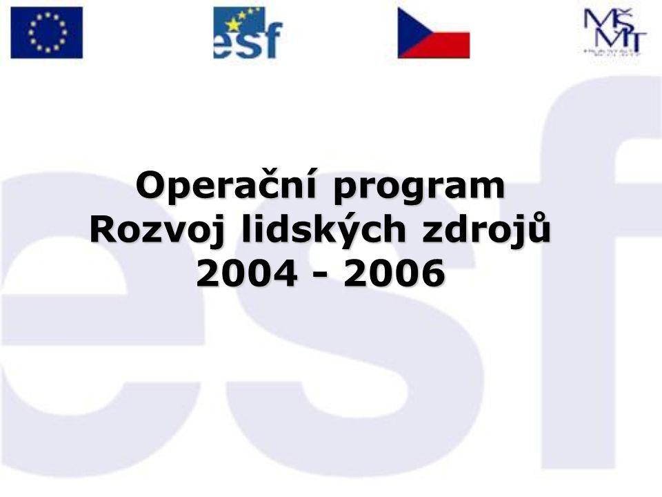 OP RLZ MŠMT – Zprostředkující subjekt Dohoda o delegování činností a pravomocí Řídícího orgánu na Zprostředkující subjekt mezi MŠMT a MPSV ze dne 30.7.2004 →  Opatření 3.1 - Zkvalitňování vzdělávání ve školách a školských zařízeních a rozvoj podpůrných systémů ve vzdělávání  Opatření 3.2 - Podpora terciárního vzdělávání, výzkumu a vývoje Finanční prostředky ze státního rozpočtu ČR a z ESF v celkovém objemu 97,4 mil.