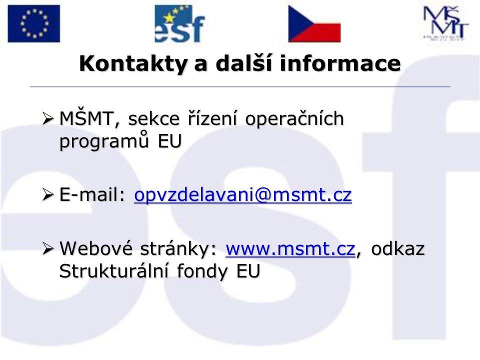 Kontakty a další informace  MŠMT, sekce řízení operačních programů EU  E-mail: opvzdelavani@msmt.cz opvzdelavani@msmt.cz  Webové stránky: www.msmt.cz, odkaz Strukturální fondy EU www.msmt.cz