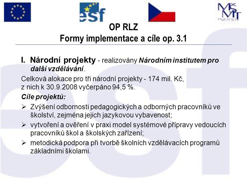 OP RLZ Formy implementace a cíle op. 3.1 I. Národní projekty - realizovány Národním institutem pro další vzdělávání. Celková alokace pro tři národní p