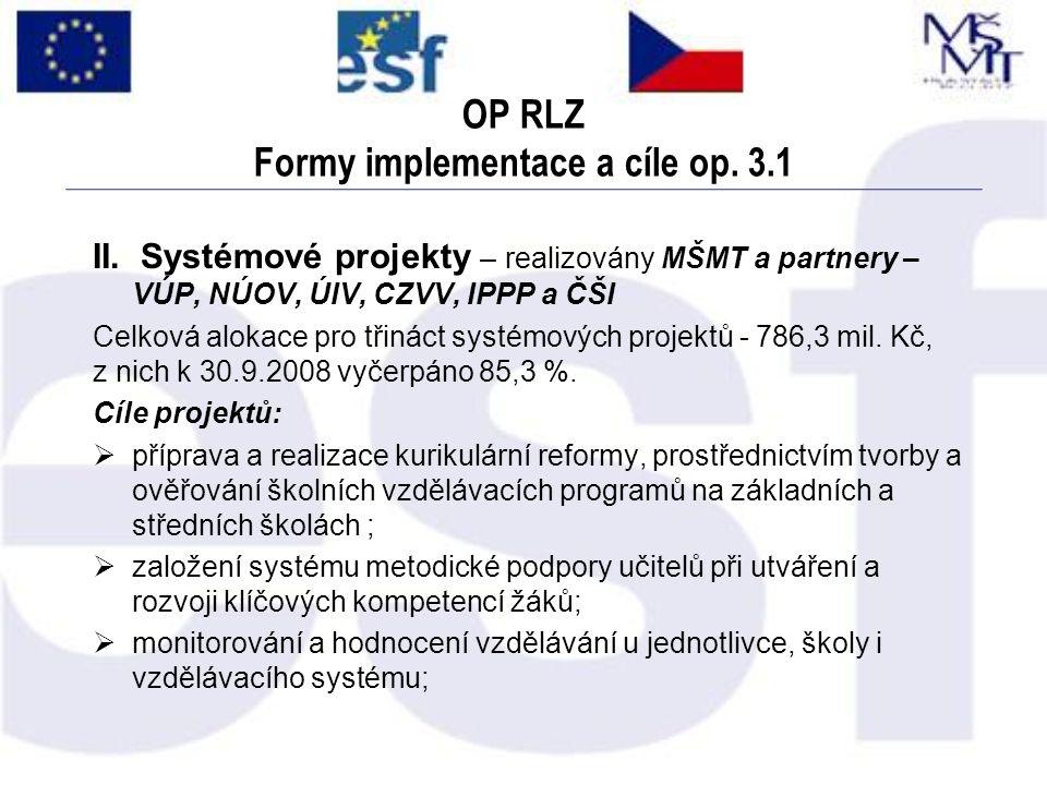 OP RLZ Formy implementace a cíle op. 3.1 II. Systémové projekty – realizovány MŠMT a partnery – VÚP, NÚOV, ÚIV, CZVV, IPPP a ČŠI Celková alokace pro t