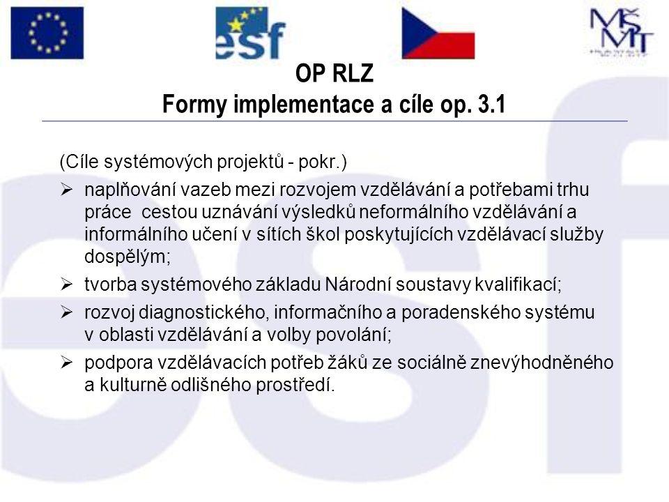 OP RLZ Formy implementace a cíle op. 3.1 (Cíle systémových projektů - pokr.)  naplňování vazeb mezi rozvojem vzdělávání a potřebami trhu práce cestou