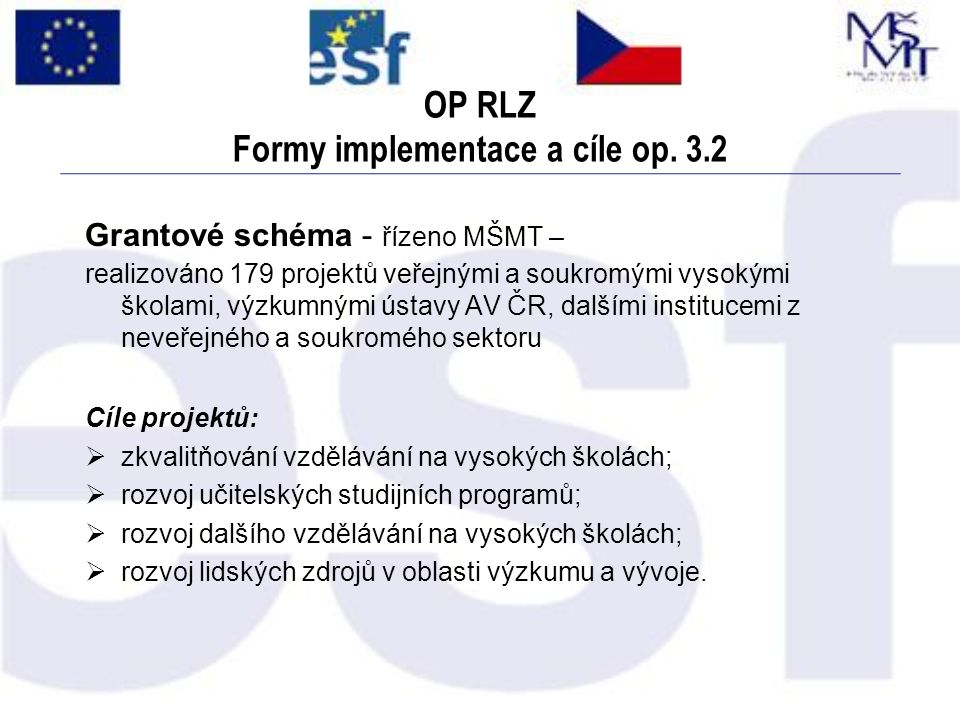 OP RLZ Formy implementace a cíle op. 3.2 Grantové schéma - řízeno MŠMT – realizováno 179 projektů veřejnými a soukromými vysokými školami, výzkumnými