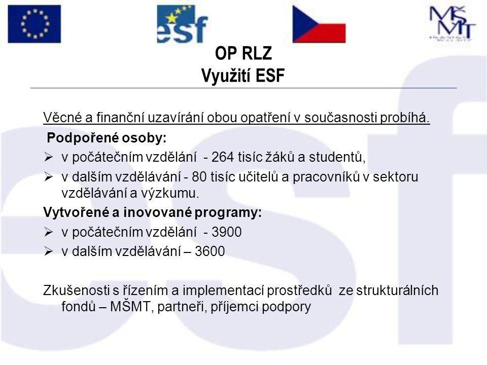 OP RLZ Využití ESF Věcné a finanční uzavírání obou opatření v současnosti probíhá. Podpořené osoby:  v počátečním vzdělání - 264 tisíc žáků a student