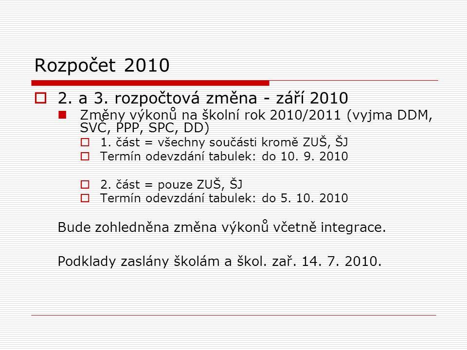 Rozpočet 2010  2. a 3.