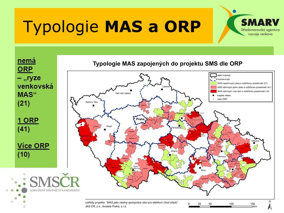 """Typologie MAS a ORP nemá ORP – """"ryze venkovská MAS (21) 1 ORP (41) Více ORP (10)"""