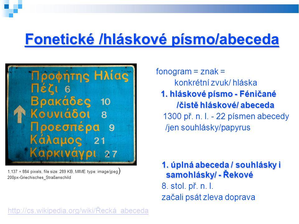 Fonetické /hláskové písmo/abeceda fonogram = znak = konkrétní zvuk/ hláska 1.