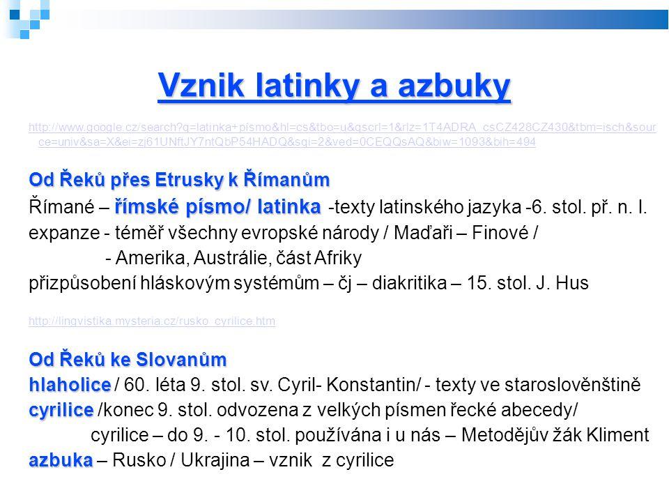 Vznik latinky a azbuky http://www.google.cz/search q=latinka+písmo&hl=cs&tbo=u&qscrl=1&rlz=1T4ADRA_csCZ428CZ430&tbm=isch&sour ce=univ&sa=X&ei=zj61UNftJY7ntQbP54HADQ&sqi=2&ved=0CEQQsAQ&biw=1093&bih=494 Od Řeků přes Etrusky k Římanům římské písmo/ latinka Římané – římské písmo/ latinka -texty latinského jazyka -6.
