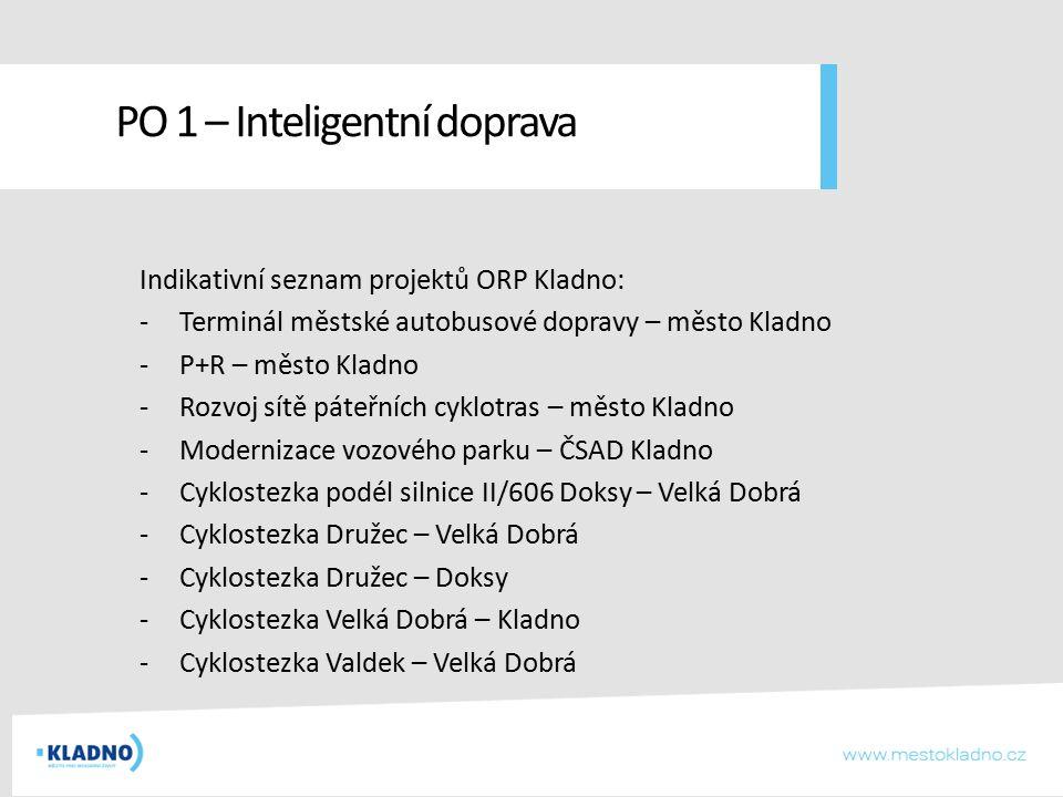 Indikativní seznam projektů ORP Kladno: -Terminál městské autobusové dopravy – město Kladno -P+R – město Kladno -Rozvoj sítě páteřních cyklotras – měs