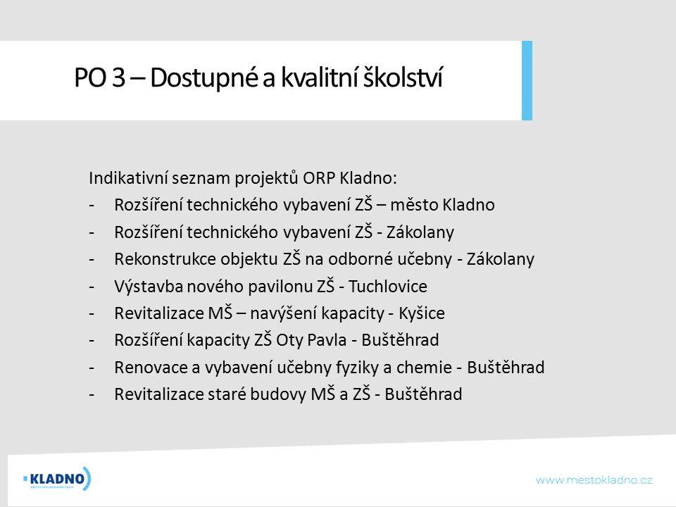 Indikativní seznam projektů ORP Kladno: -Rozšíření technického vybavení ZŠ – město Kladno -Rozšíření technického vybavení ZŠ - Zákolany -Rekonstrukce