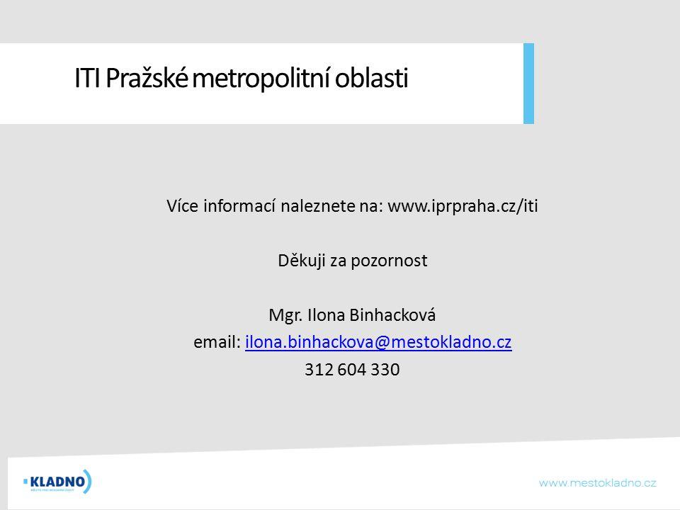 ITI Pražské metropolitní oblasti Více informací naleznete na: www.iprpraha.cz/iti Děkuji za pozornost Mgr. Ilona Binhacková email: ilona.binhackova@me