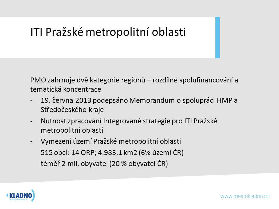 ITI Pražské metropolitní oblasti PMO zahrnuje dvě kategorie regionů – rozdílné spolufinancování a tematická koncentrace -19. června 2013 podepsáno Mem