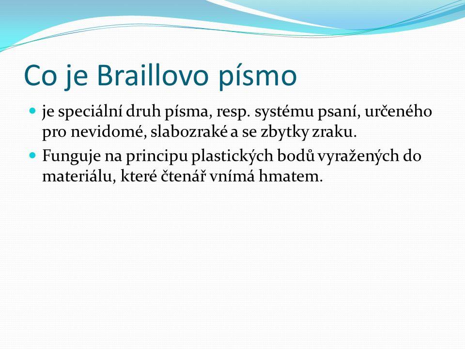 Co je Braillovo písmo je speciální druh písma, resp. systému psaní, určeného pro nevidomé, slabozraké a se zbytky zraku. Funguje na principu plastický