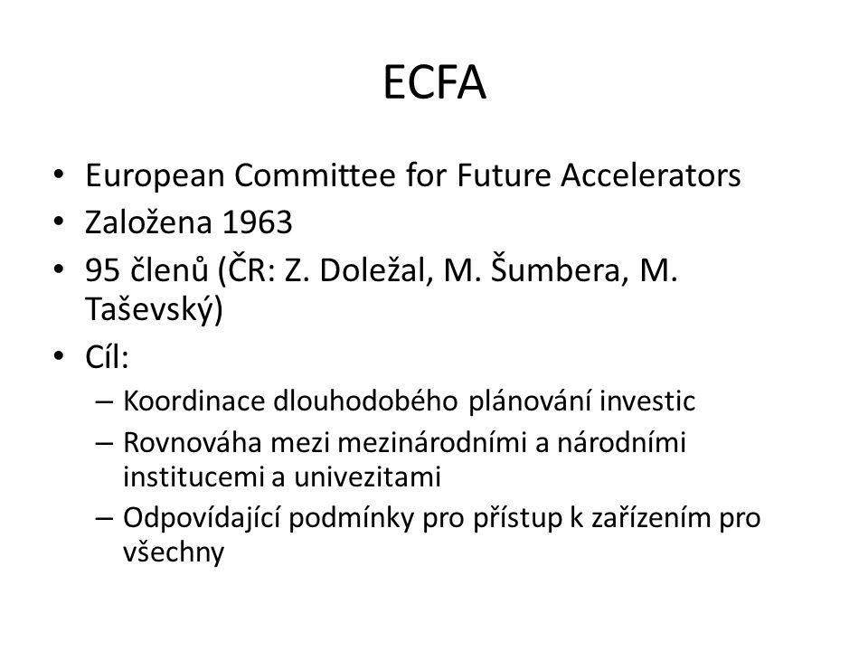 ECFA European Committee for Future Accelerators Založena 1963 95 členů (ČR: Z. Doležal, M. Šumbera, M. Taševský) Cíl: – Koordinace dlouhodobého plánov