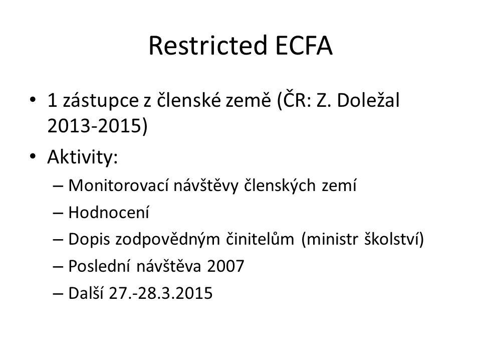 Restricted ECFA 1 zástupce z členské země (ČR: Z. Doležal 2013-2015) Aktivity: – Monitorovací návštěvy členských zemí – Hodnocení – Dopis zodpovědným