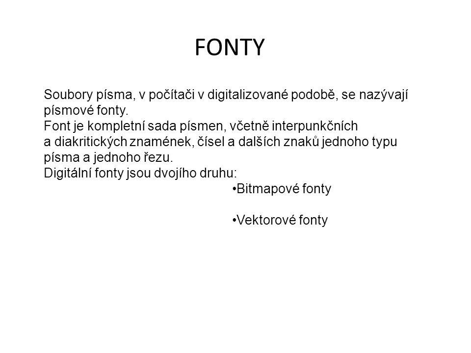 FONTY Soubory písma, v počítači v digitalizované podobě, se nazývají písmové fonty.