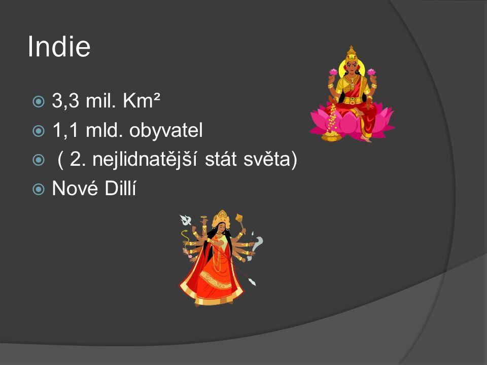 Indie  3,3 mil. Km²  1,1 mld. obyvatel  ( 2. nejlidnatější stát světa)  Nové Dillí