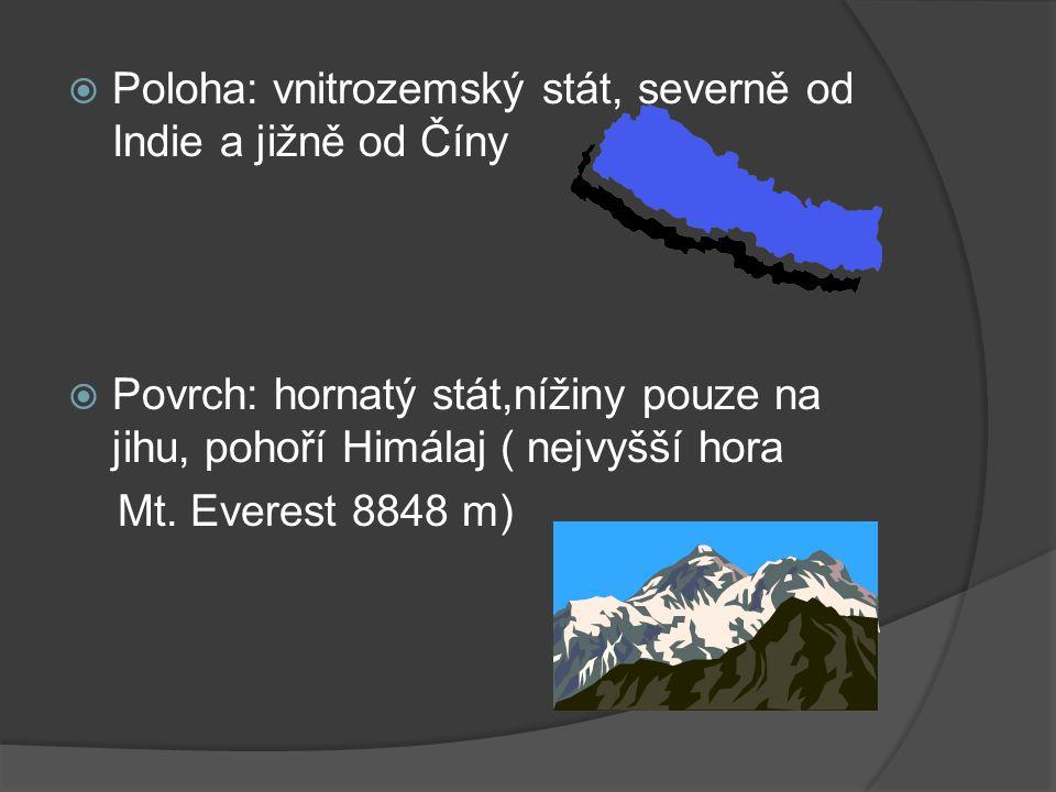 Poloha: vnitrozemský stát, severně od Indie a jižně od Číny  Povrch: hornatý stát,nížiny pouze na jihu, pohoří Himálaj ( nejvyšší hora Mt.
