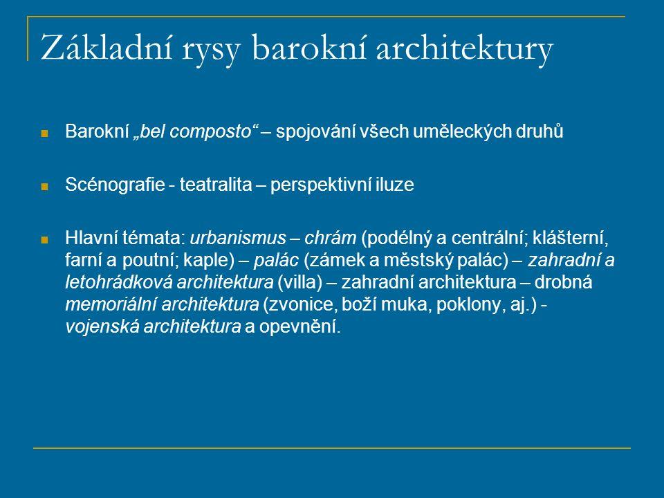 """Základní rysy barokní architektury Barokní """"bel composto"""" – spojování všech uměleckých druhů Scénografie - teatralita – perspektivní iluze Hlavní téma"""