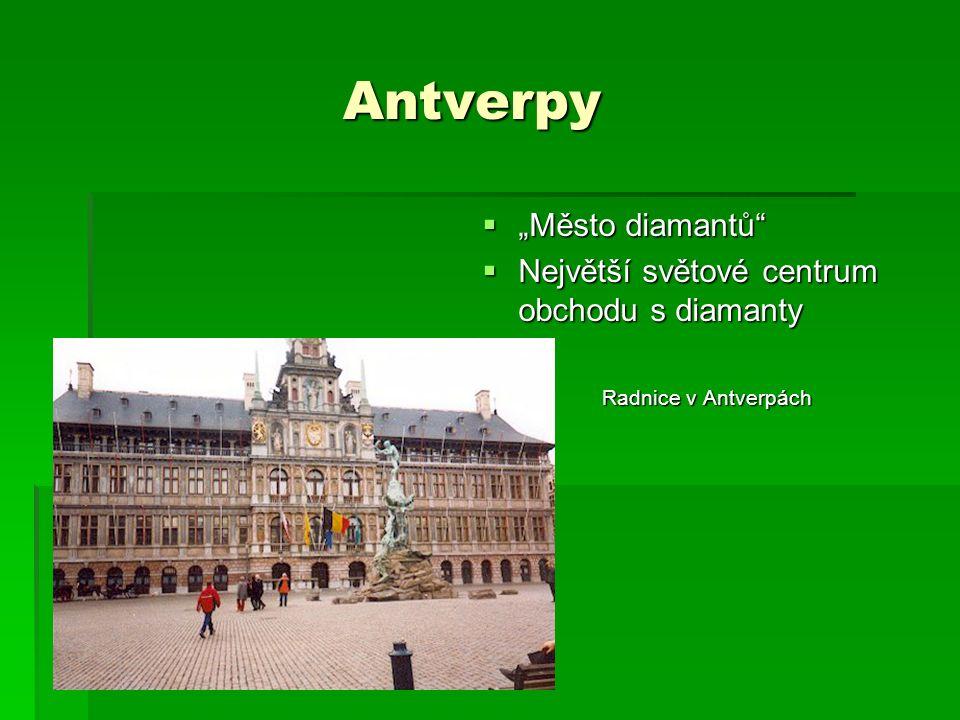 """Antverpy Antverpy  """"Město diamantů  Největší světové centrum obchodu s diamanty Radnice v Antverpách"""