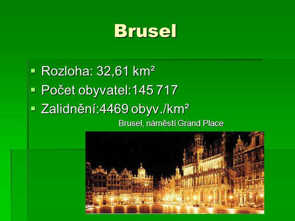 Brusel Brusel  Rozloha: 32,61 km²  Počet obyvatel:145 717  Zalidnění:4469 obyv./km² Brusel, náměstí Grand Place