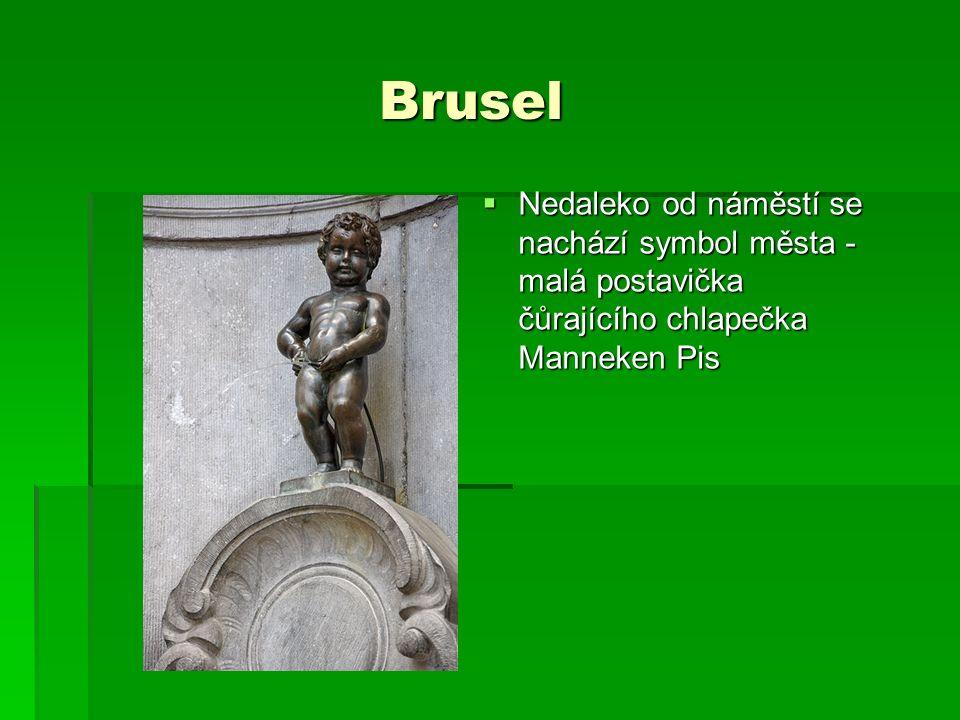 Brusel Brusel  Nedaleko od náměstí se nachází symbol města - malá postavička čůrajícího chlapečka Manneken Pis
