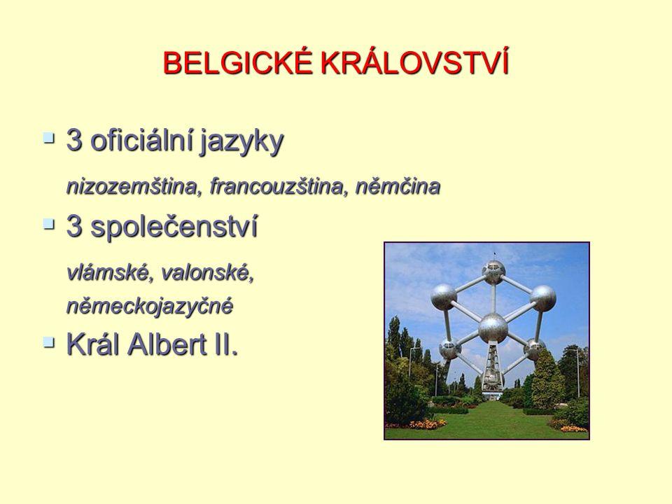 BELGICKÉ KRÁLOVSTVÍ  3 oficiální jazyky nizozemština, francouzština, němčina  3 společenství vlámské, valonské, vlámské, valonské,německojazyčné  Král Albert II.