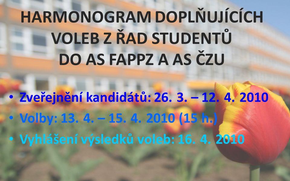 HARMONOGRAM DOPLŇUJÍCÍCH VOLEB Z ŘAD STUDENTŮ DO AS FAPPZ A AS ČZU Zveřejnění kandidátů: 26.