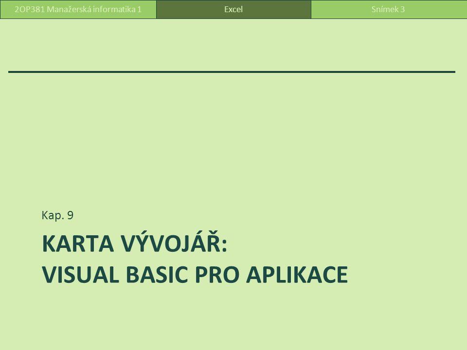KARTA VÝVOJÁŘ: VISUAL BASIC PRO APLIKACE Kap. 9 ExcelSnímek 32OP381 Manažerská informatika 1