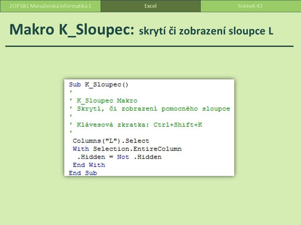 Makro K_Sloupec: skrytí či zobrazení sloupce L ExcelSnímek 432OP381 Manažerská informatika 1