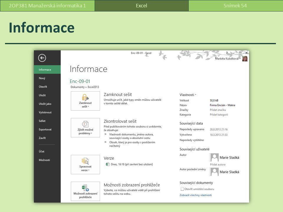 Informace ExcelSnímek 542OP381 Manažerská informatika 1