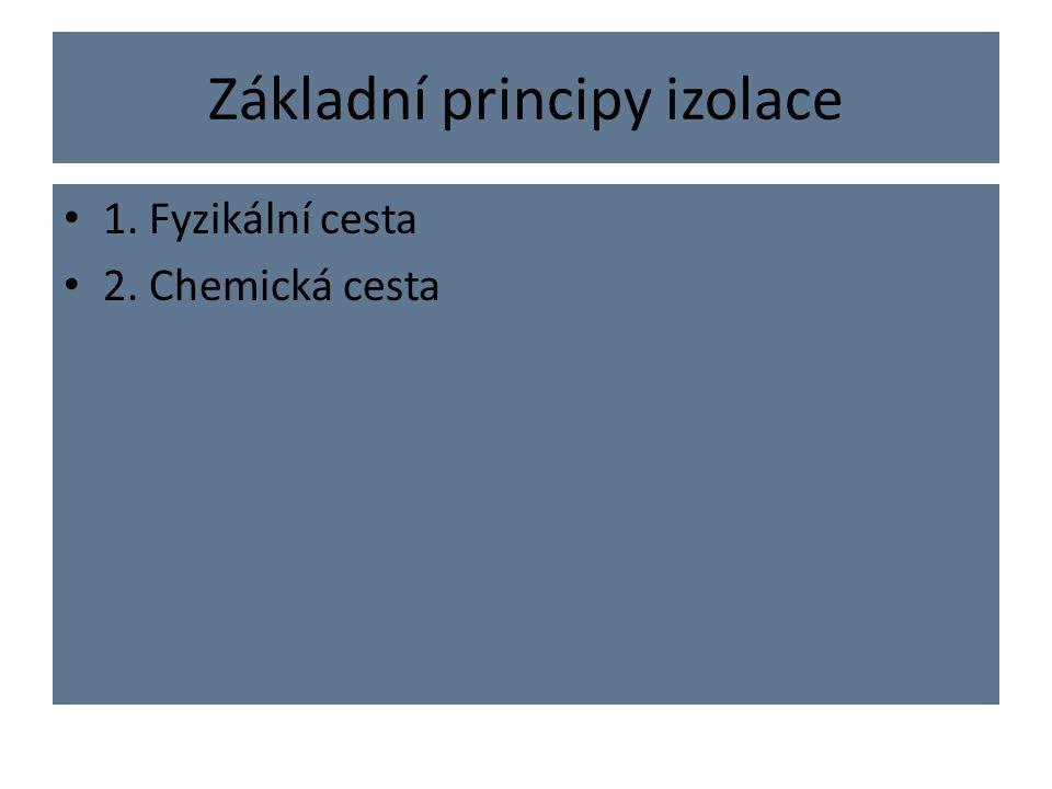 Základní principy izolace 1. Fyzikální cesta 2. Chemická cesta
